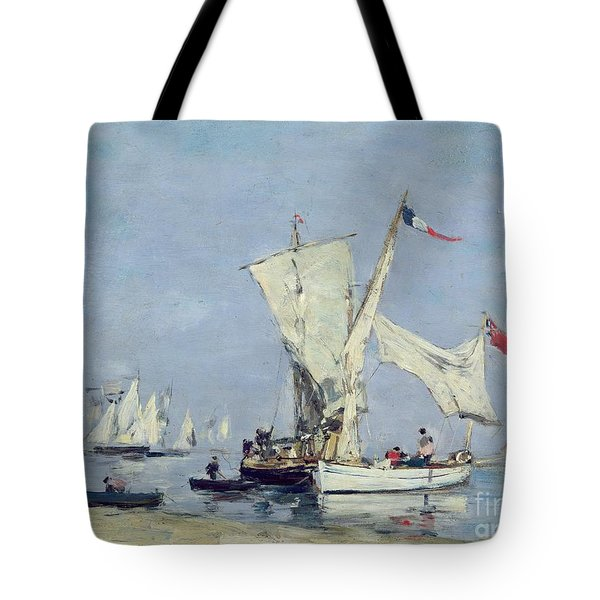 Sailing Boats Tote Bag by Eugene Louis Boudin