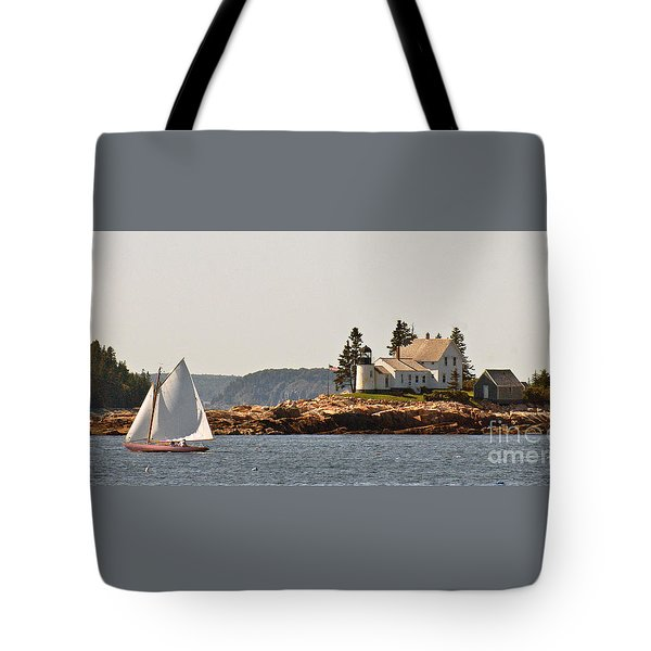 sailing by Mark Island lighthouse Tote Bag