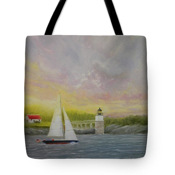 Sailing By Ram Island Tote Bag