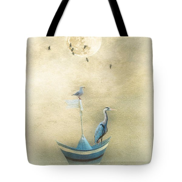 Tote Bag featuring the painting Sailing By The Moon by Chris Armytage