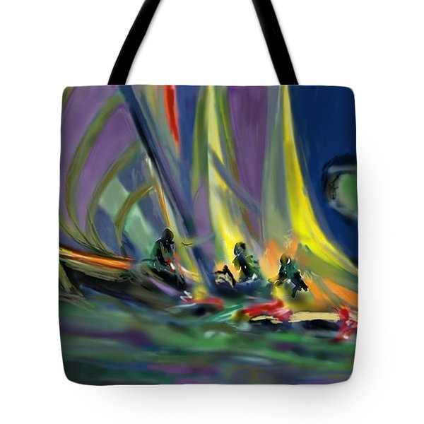 Tote Bag featuring the digital art Sailing by Darren Cannell