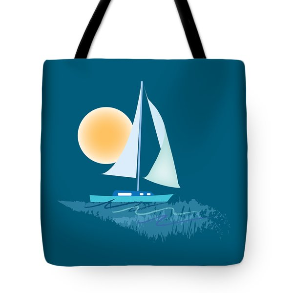 Tote Bag featuring the digital art Sailing Day by Gina Harrison