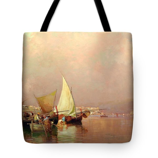 Tote Bag featuring the painting Sailing Fishermen Boats In Naples by Rosario Piazza