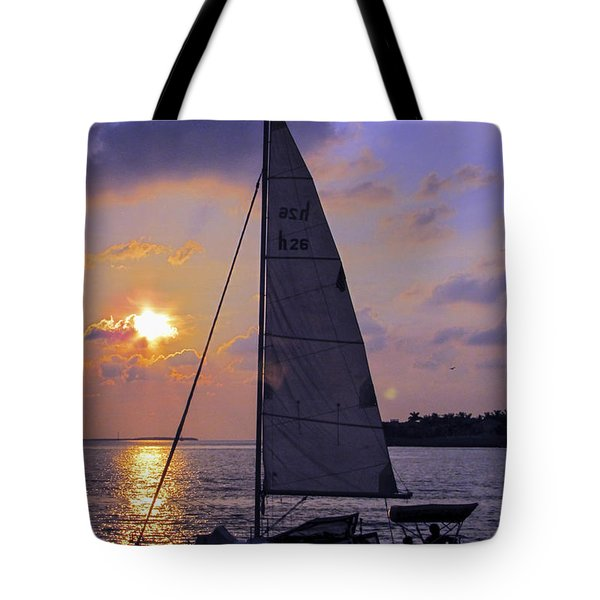 Sailing Home Sunset In Key West Tote Bag