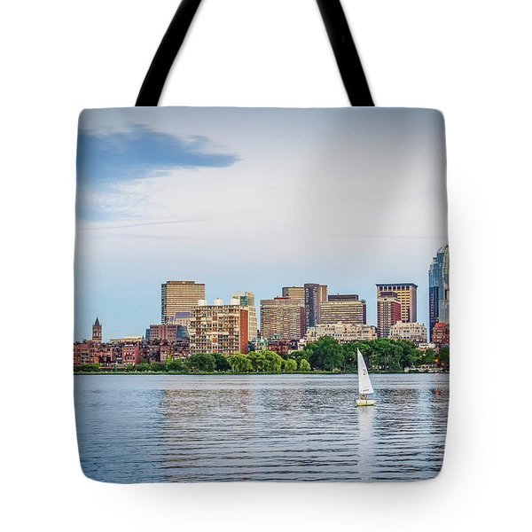 Sailing In Back Bay Tote Bag by Mike Ste Marie