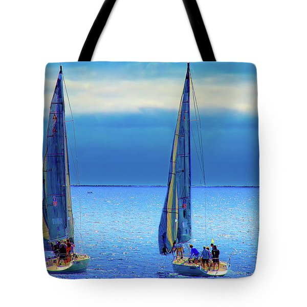 Sailing In The Blue Tote Bag by Joseph Hollingsworth