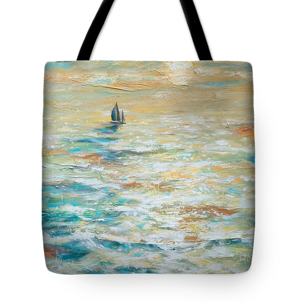 Sailing Into The Sunset Tote Bag by Linda Olsen