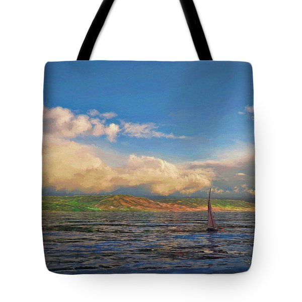 Sailing On Galilee Tote Bag by Dave Luebbert
