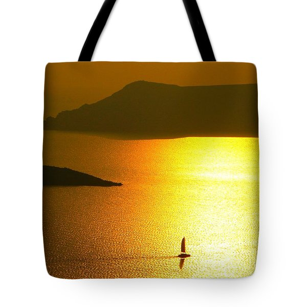 Tote Bag featuring the photograph Sailing On Gold 1 by Ana Maria Edulescu