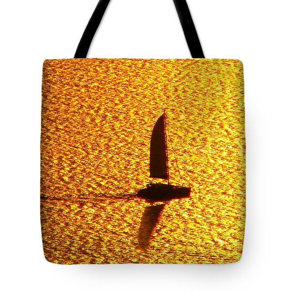 Tote Bag featuring the photograph Sailing On Gold by Ana Maria Edulescu