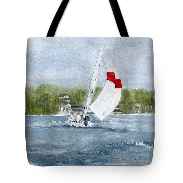 Tote Bag featuring the painting Sailing On Niagara River by Melly Terpening