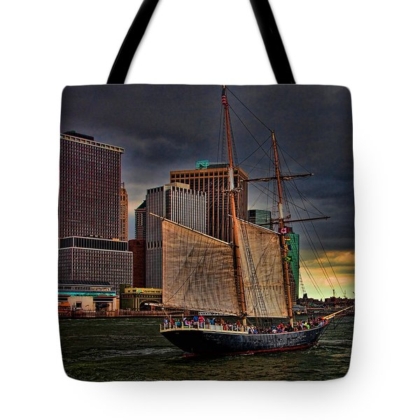 Sailing On The East River Tote Bag by Chris Lord