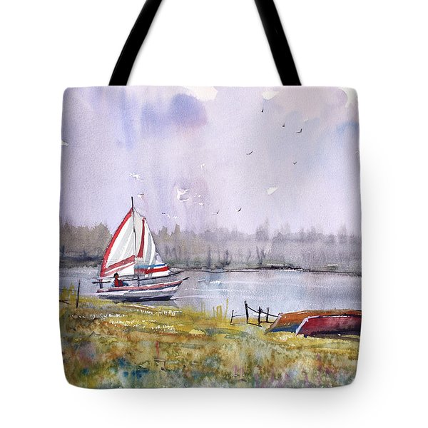 Sailing On White Sand Lake Tote Bag by Ryan Radke