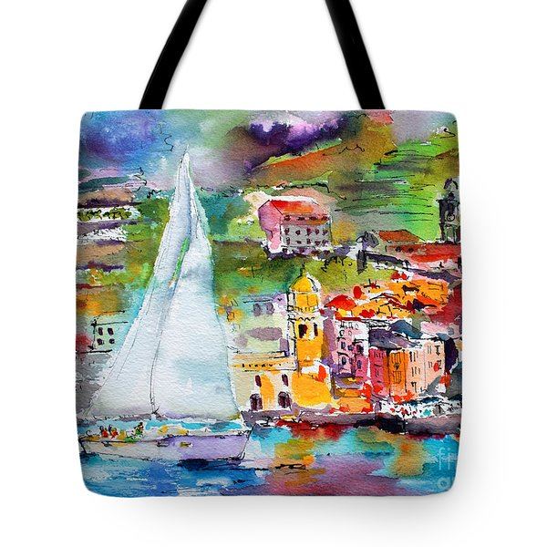 Tote Bag featuring the painting Sailing Past Vernazza Italy by Ginette Callaway