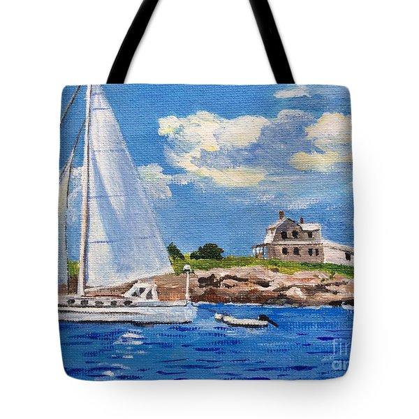 Sailing Past Wood Island Lighthouse Tote Bag