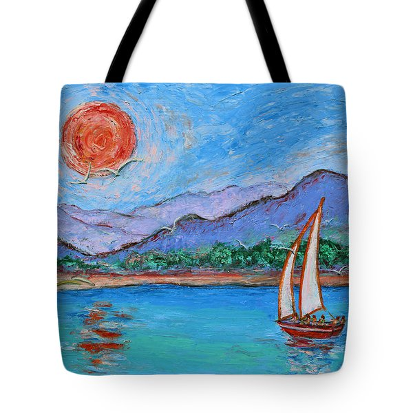 Tote Bag featuring the painting Sailing Red Sun by Xueling Zou