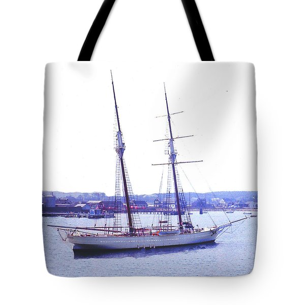 Tote Bag featuring the photograph Sailing Ship At Anchor - Cape Cod Ma by Merton Allen