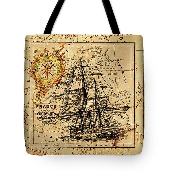Sailing Ship Map Tote Bag