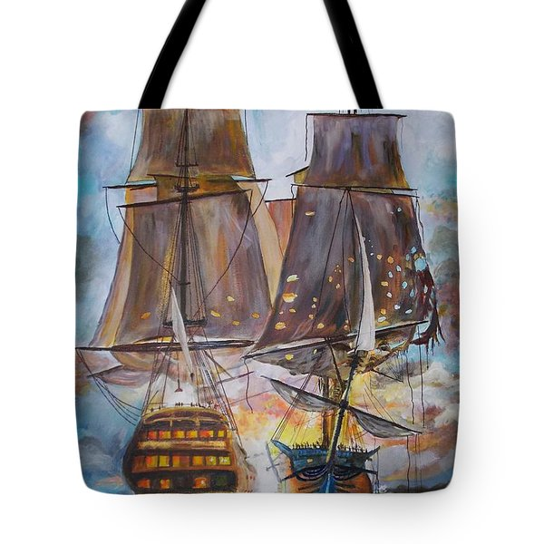 Sailing Ships At War. Tote Bag