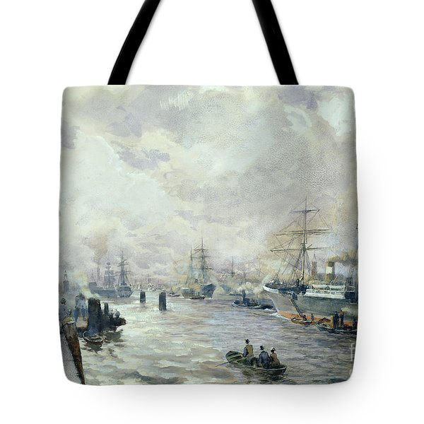Sailing Ships In The Port Of Hamburg Tote Bag by Carl Rodeck