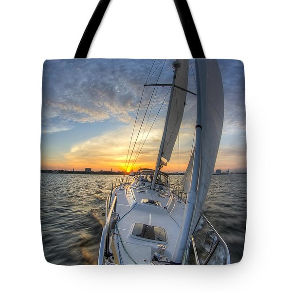 Sailing Sunset Sailboat Fate Charleston  Tote Bag