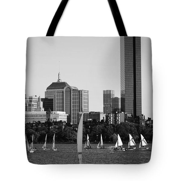 Sailing The Charles River Boston Ma Black And White Tote Bag