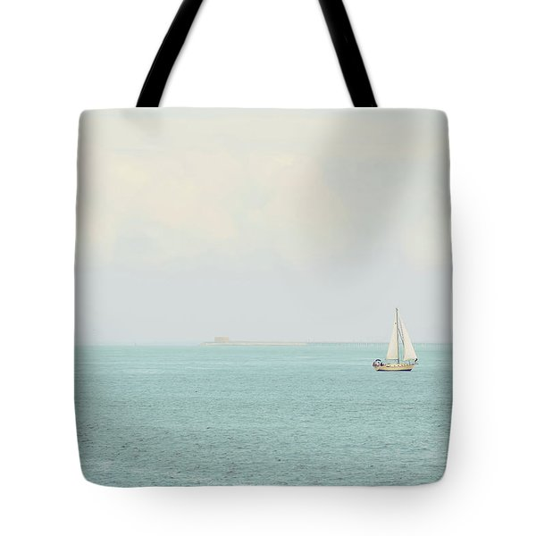 Tote Bag featuring the photograph Sailing The Ocean Blue by Deborah  Crew-Johnson