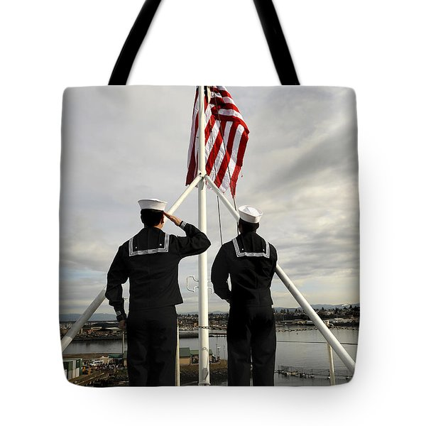 Sailors Raise The National Ensign Tote Bag