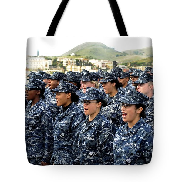 Sailors Yell Before An All-hands Call Tote Bag