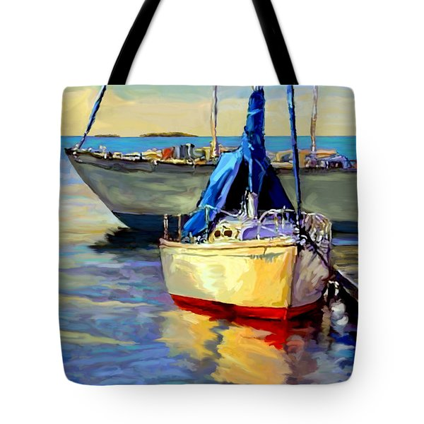 Tote Bag featuring the painting Sails At Rest by David  Van Hulst