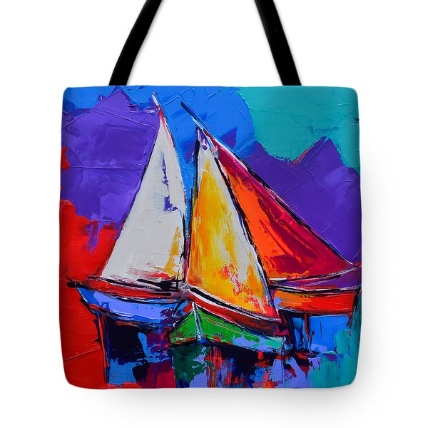 Tote Bag featuring the painting Sails Colors by Elise Palmigiani