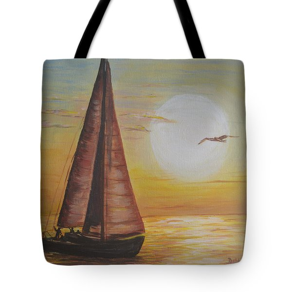 Sails In The Sunset Tote Bag by Debbie Baker