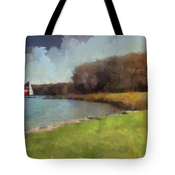 Sails On Lake Wampum Tote Bag