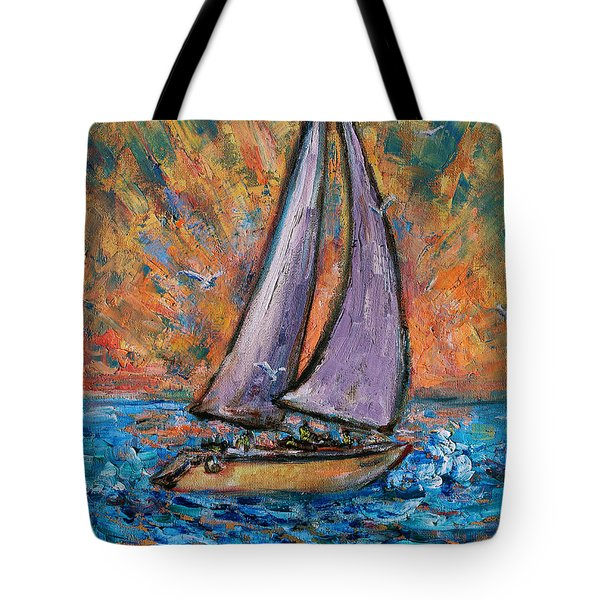 Tote Bag featuring the painting Sails Up by Xueling Zou
