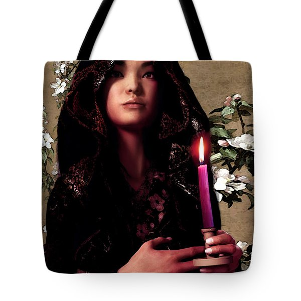 Saint Agnes Gui Ying Cao With Cherry Blossoms Tote Bag by Suzanne Silvir