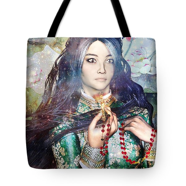Tote Bag featuring the painting Saint Agnes Le Thi Thanh by Suzanne Silvir