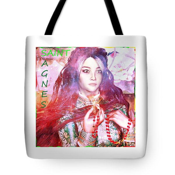 Tote Bag featuring the painting Saint Agnes Poster by Suzanne Silvir