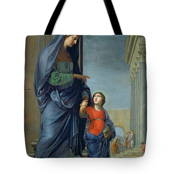 Saint Anne Leading The Virgin To The Temple Tote Bag by Jacques Stella