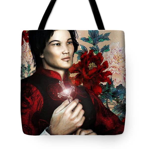 Tote Bag featuring the painting Saint Bernard Vo Van Due Of Vietnam by Suzanne Silvir