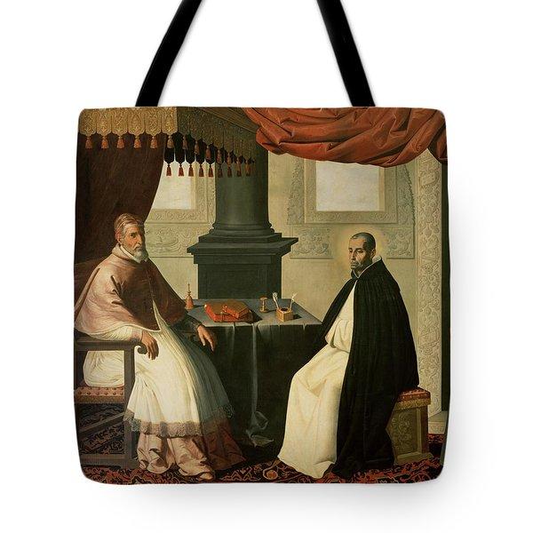 Saint Bruno And Pope Urban II Tote Bag by Francisco de Zurbaran