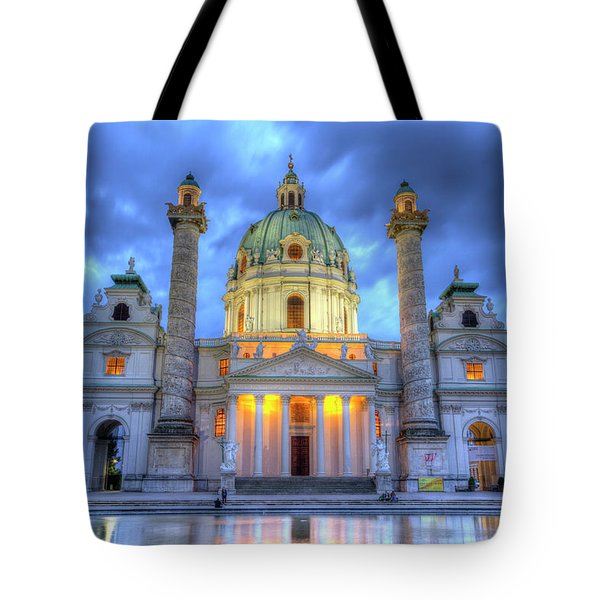 Saint Charles's Church At Karlsplatz In Vienna, Austria, Hdr Tote Bag