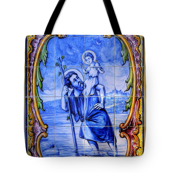 Saint Christopher Carrying The Christ Child Across The River - Near Entrance To The Carmel Mission Tote Bag