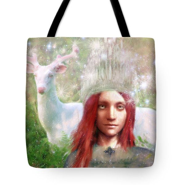 Tote Bag featuring the painting Saint Dymphna The Healer by Suzanne Silvir