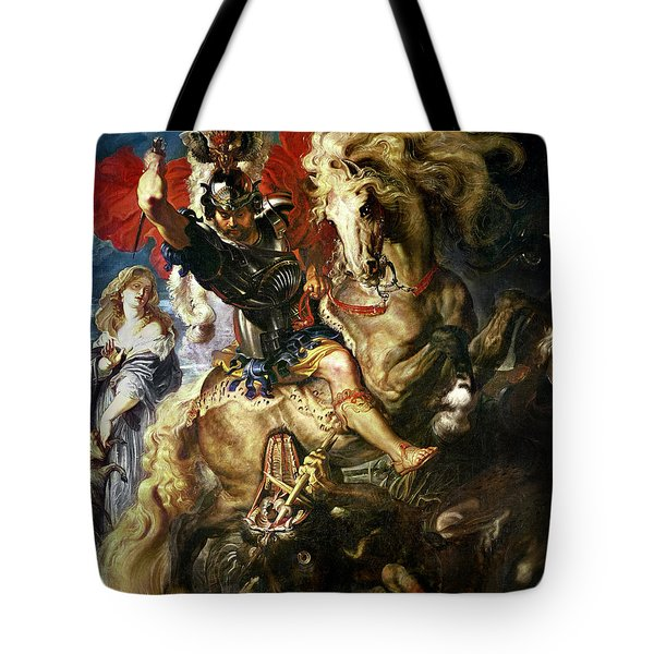 Saint George And The Dragon Tote Bag by Peter Paul Rubens
