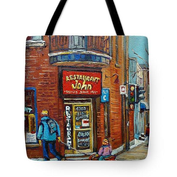 Saint Henri Street In Winter Tote Bag by Carole Spandau
