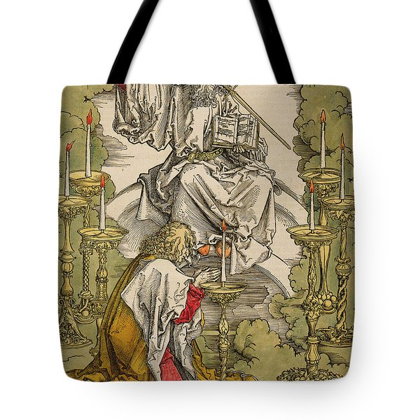 Saint John On The Island Of Patmos Receives Inspiration From God To Create The Apocalypse Tote Bag