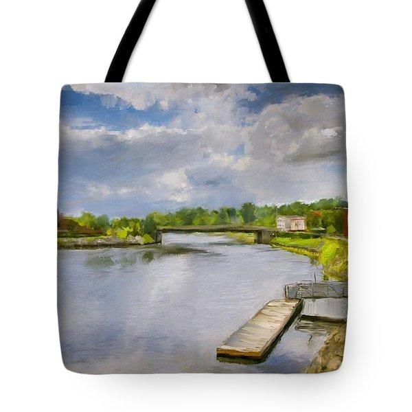 Saint John River Painting Tote Bag