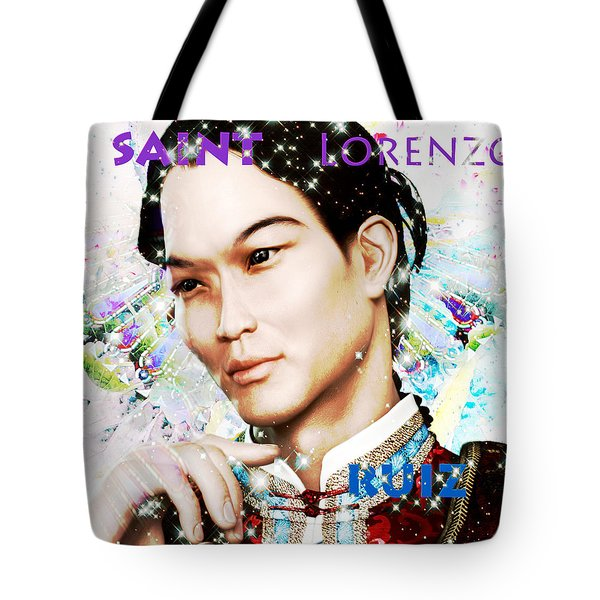 Tote Bag featuring the painting Saint Lorenzo Ruiz Of The Philippines by Suzanne Silvir