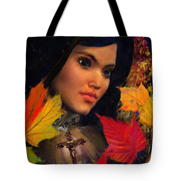 Tote Bag featuring the painting Saint Magdalene Of Nagasaki October Vision by Suzanne Silvir