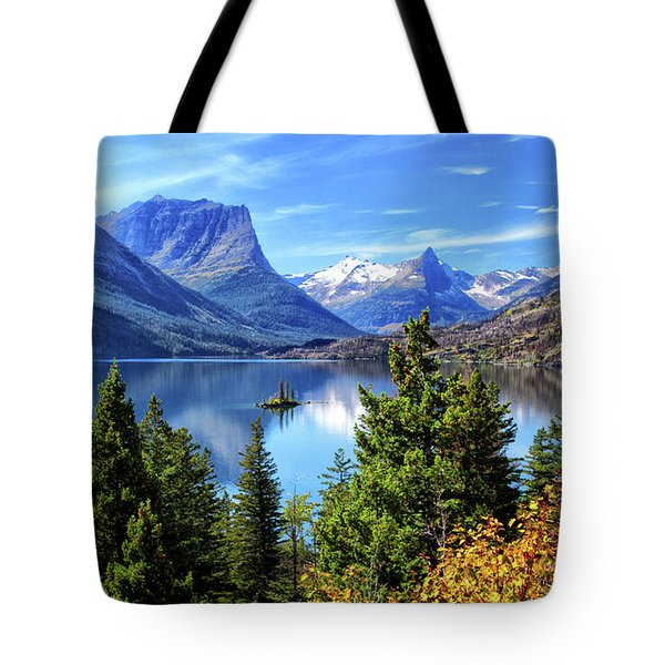 Saint Mary Lake In Glacier National Park Tote Bag